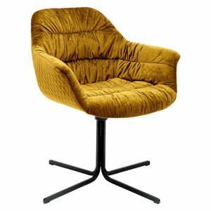 Žltá stolička so zamatovým čalúnením Kare Design Swivel