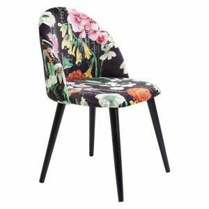 Set 2 čiernych kvetovaných stoličiek Kare Design Flores