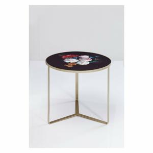 Čierny odkladací stolík s doskou v kvetinovom dekore Kare Design Flores, ø 45 cm