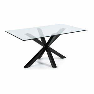 Jedálenský stôl so sklenenou doskou La Forma s čiernym podnožím, 160 x 90 cm
