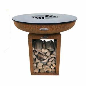 Hnedý vonkajší gril na drevené uhlie Remundi Carus M, výška 80 cm