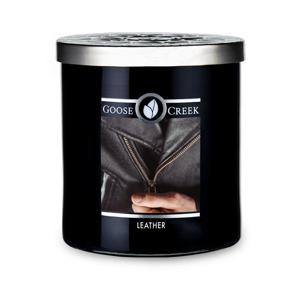 Vonná sviečka v sklenenej dóze Goose Creek Men 'Collection Leather, 50 hodín horenia