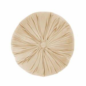 Béžový zamatový dekoratívny vankúš Tiseco Home Studio Velvet, ø 38 cm