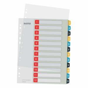 Numerický register s 12 štítkami Leitz, A4