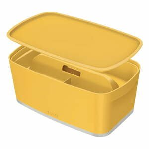 Žltá úložná škatuľa s vekom a organizérom Leitz Cosy, objem 5 l