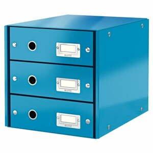 Modrá škatuľa s 3 zásuvkami Leitz Office, 36 x 29 x 28 cm