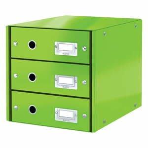Zelená škatuľa s 3 zásuvkami Leitz Office, 36 x 29 x 28 cm