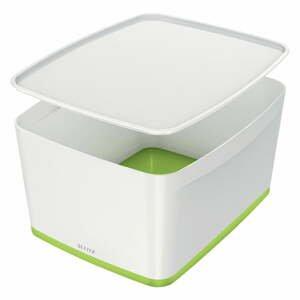 Bielo-zelená úložná škatuľa s vekom Leitz Office, objem 18 l