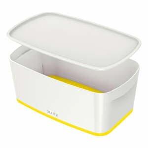 Bielo-žltá úložná škatuľa s vekom Leitz Office, objem 5 l