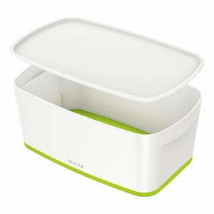 Bielo-zelená úložná škatuľa s vekom Leitz Office, objem 5 l