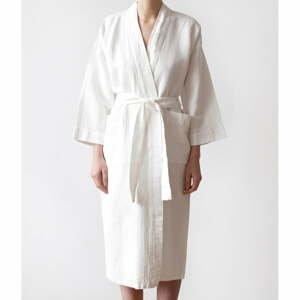 Unisex biely župan z bavlny a ľanu Linen Tales, veľ. XL