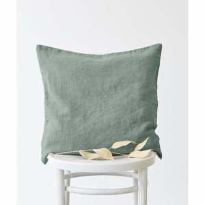Zelená ľanová obliečka na vankúš Linen Tales, 45 x 45 cm
