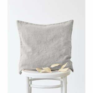 Striebornosivá ľanová obliečka na vankúš Linen Tales, 50 x 50 cm