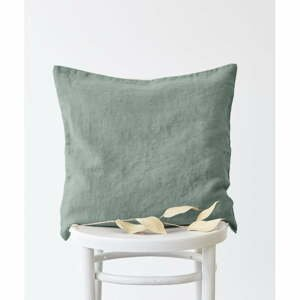 Zelená ľanová obliečka na vankúš Linen Tales, 50 x 50 cm