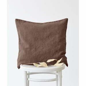 Hnedá ľanová obliečka na vankúš Linen Tales, 50 x 50 cm