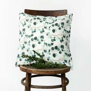 Bielo-zelená ľanová obliečka na vankúš Linen Tales Eucalyptus, 45 x 45 cm