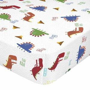 Detská bavlnená plachta Moshi Moshi Funnysaurus, 70 x 140 cm