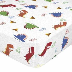 Detská bavlnená plachta Moshi Moshi Funnysaurus, 90 x 200 cm