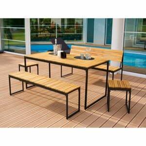 Záhradná súprava jedálenského nábytku z akáciového dreva s kovovou konštrukciou Ezeis Brick