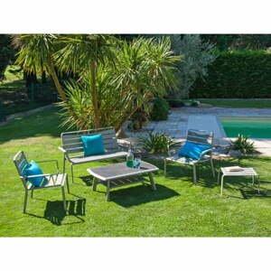 Súprava sivého záhradného stolíka, kresiel, lavíc a podnožky Ezeis Spring Lounge