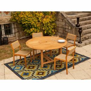 Súprava záhradného guľatého stola a 4 stohovateľných stoličiek z teakového dreva Ezeis