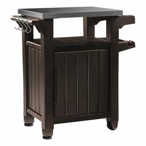 Hnedý záhradný odkladací stolík Keter, 82 x 90 cm