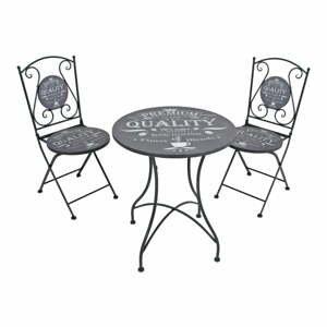 Set 2 sivých záhradných stoličiek a stolíka ADDU Royal