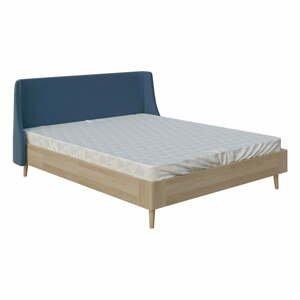 Modrá dvojlôžková posteľ PreSpánok Sofia, 140 x 200 cm