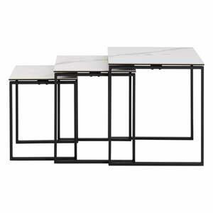 Súprava 3 bielych konferenčných stolíkov so železným nohami Actona Katrine
