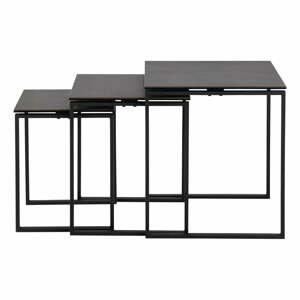 Súprava 3 čiernych konferenčných stolíkov so železným nohami Actona Katrine
