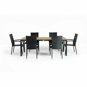 Sivá záhradná súprava nábytku so 6 stoličkami Le Bonom Paris Thor Large
