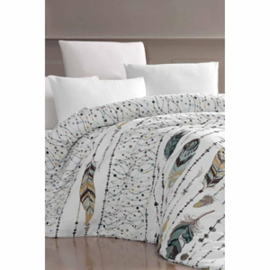 Obliečky na jednolôžko s plachtou Pure Cotton Feather Green, 160 x 220 cm