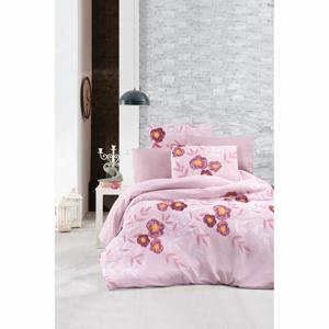 Obliečky na jednolôžko s plachtou Pure Cotton Dahlia Pink, 160 x 220 cm