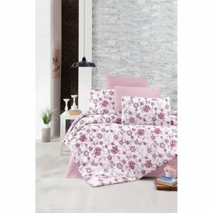 Obliečky na dvojlôžko s plachtou Pure Cotton Iris Pink, 200 x 220 cm
