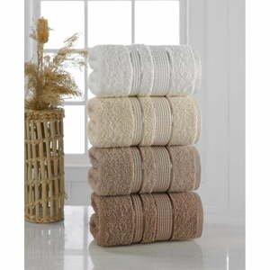 Súprava 4 uterákov Pure Cotton Brown, 50 x 85 cm
