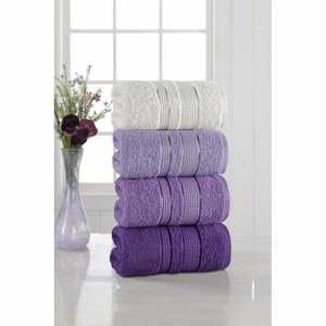 Súprava 4 uterákov Pure Cotton Purple, 50 x 85 cm
