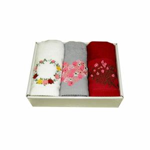 Súprava 3 uterákov s kvetinovým motívom Pure Cotton, 45 x 70 cm