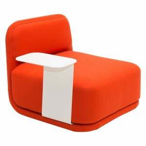 Oranžové kreslo s bielym kovovým stolíkom Softline Standby Low + Side Table