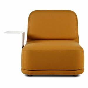 Oranžové kreslo s bielym kovovým stolíkom Softline Standby Medium + Side Table