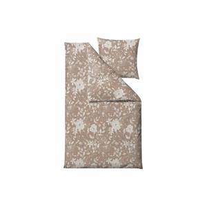 Béžové obliečky na jednolôžko z bavlneného saténu Södahl Garden Bloom, 140 x 220 cm