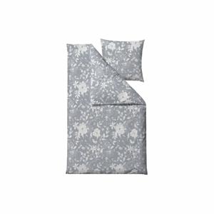Sivé obliečky na jednolôžko z bavlneného saténu Södahl Garden Bloom, 140 x 220 cm