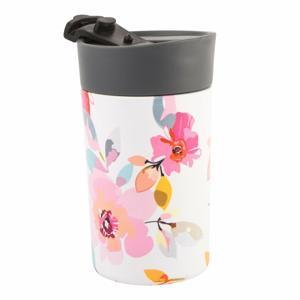 Ružový transparentný termohrnček Navigate Floral, 300 ml