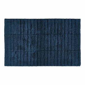 Tmavomodrá bavlnená kúpeľňová predložka Zone Tiles, 80 x 50 cm