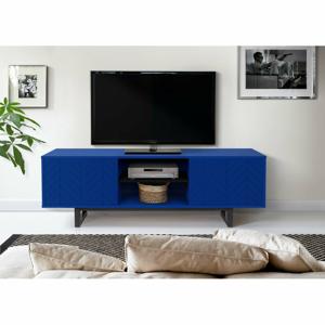 Modrý TV stolík Woodman Camden Herringbone