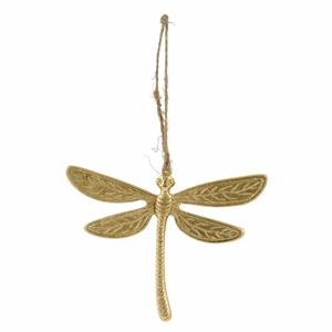 Veľkonočná závesná dekorácia v zlatej farbe Ego Dekor Dragonfly, 15 x 12 cm