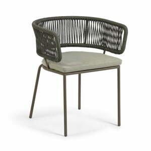 Záhradná stolička s oceľovou konštrukciou a zeleným výpletom La Forma Nadin