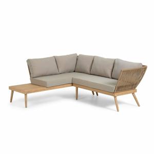 Set béžového záhradného nábytku s konštrukciou z eukalyptového dreva La Forma Ramdom