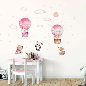 Ružové detské samolepky na stenu Ambiance Balloons and Stars