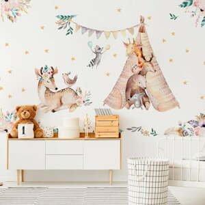 Detské samolepky na stenu Ambiance Rabbits Woodland