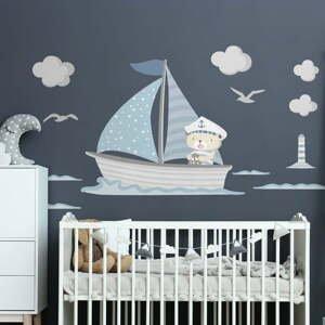 Modré detské samolepky na stenu Ambiance Captain Teddy